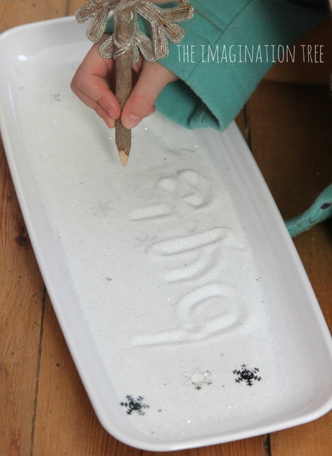 Snow dust writing tray