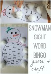 Snowman sight word bingo game and craft