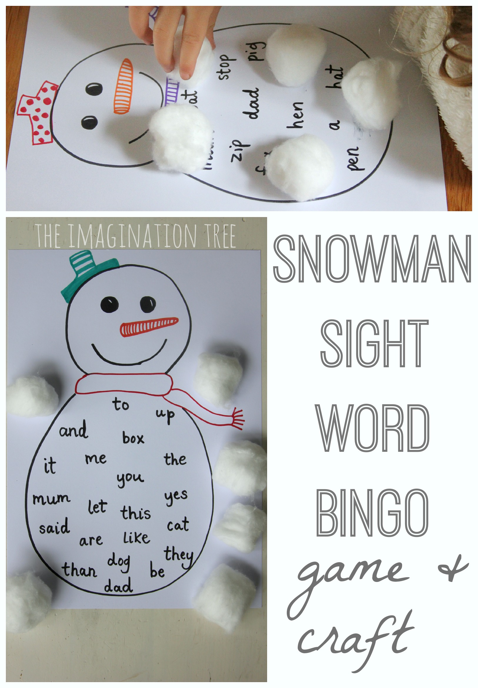 Craft Bingo Tree The  sight word up Word books Snowman Imagination   Sight