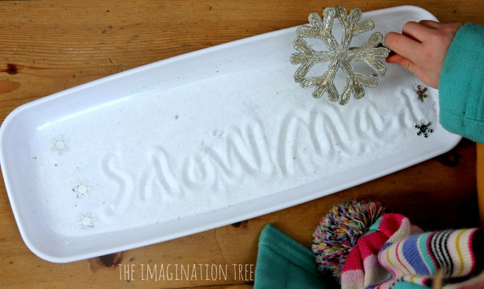 Sparkly snow sensory writing tray