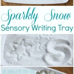 Sparkly snow sensory writing tray literacy activity