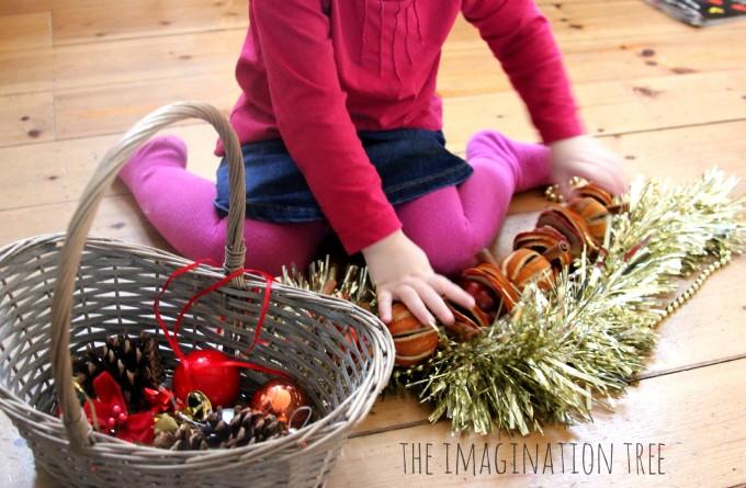 Toddler Christmas themed treasure basket