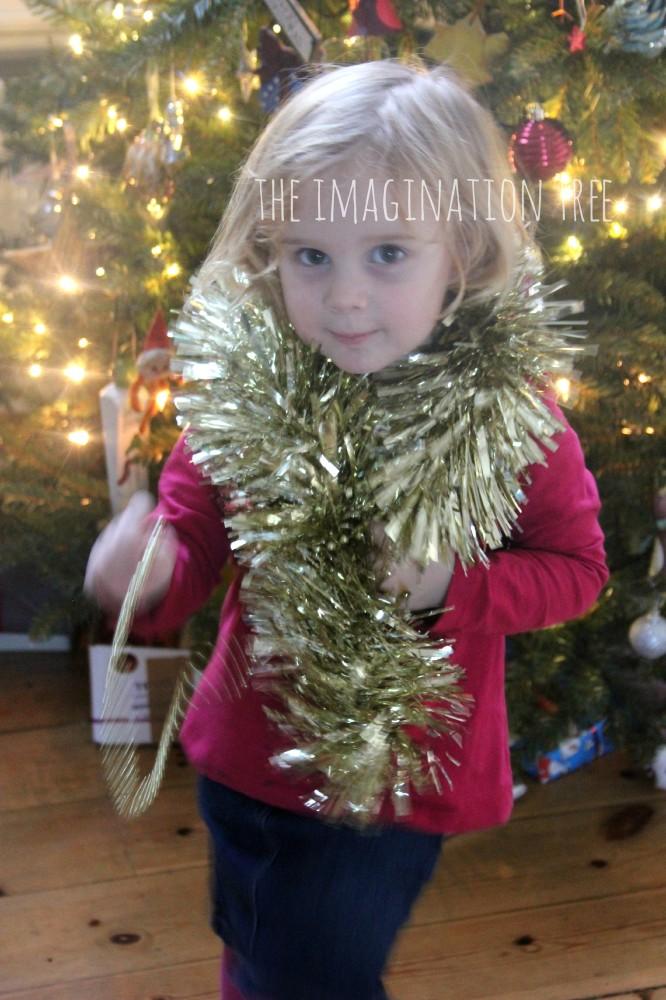 Toddler christmas sensory treasure basket