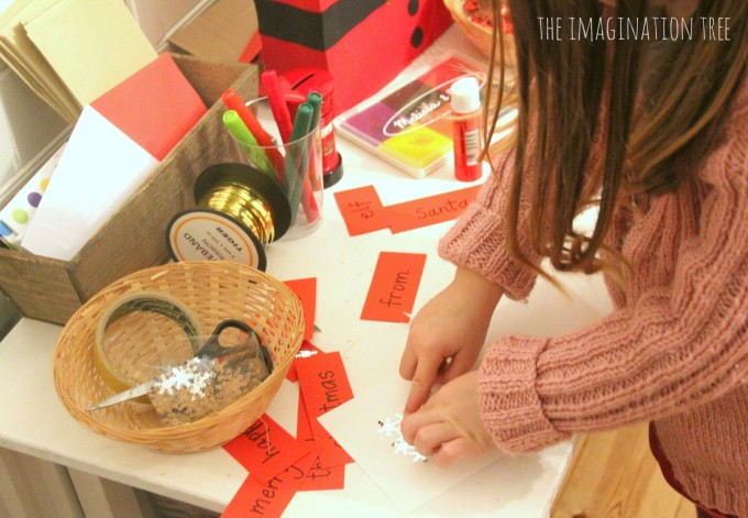 Writing and mark making in the Christmas writing area