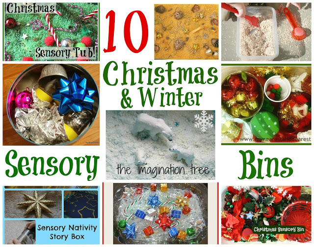 10 Sensory Bins for Christmas and Winter [It's Playtime!]