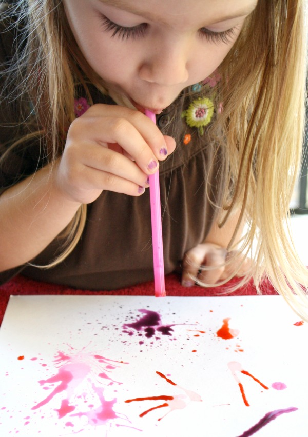 Blow Painting with Straws