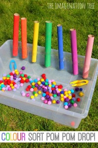 colour sorting pom pom drop game - Colour Activities For Preschoolers