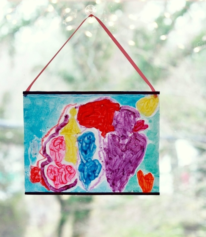 Crayon Melt Valentines Day Art for Kids - Hanging in the window