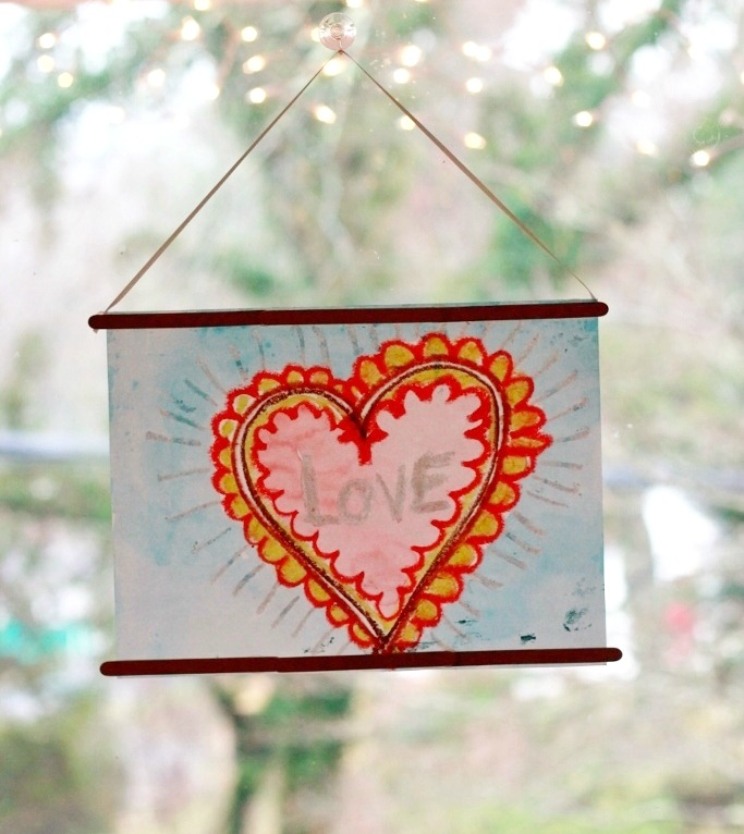 Crayon Melt Valentines Day Art for Kids - Frame out of wooden popsicle sticks
