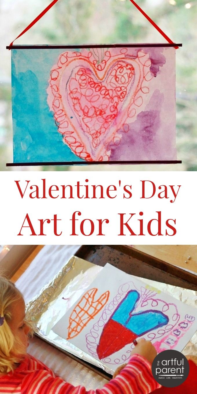 Crayon Melt Valentines Day Art for Kids