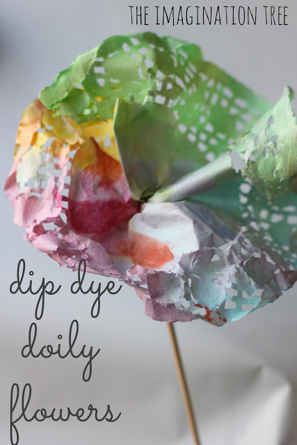 Dip Dye Doily Flowers