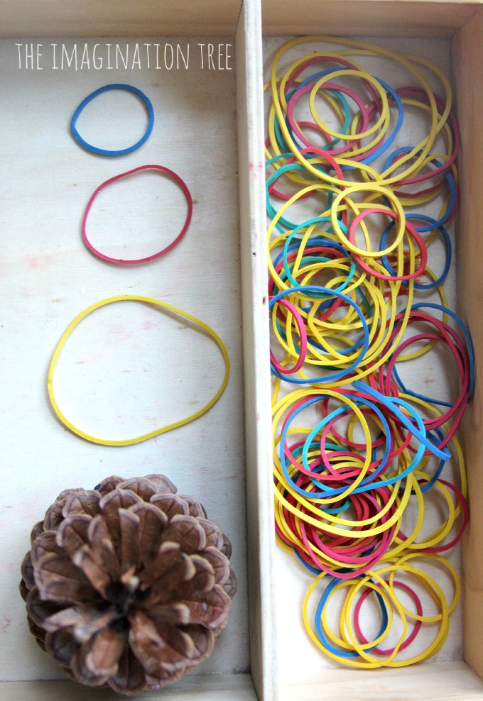 Elastic bands and pine cone finger gym