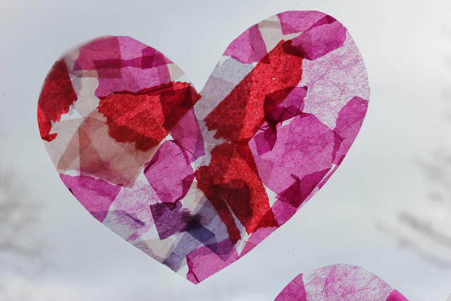Tissue Paper Stained Glass Hearts
