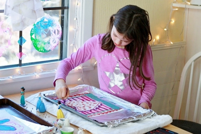 Crayon Melt Valentines Day Art for Kids - Drawing on a hot surface