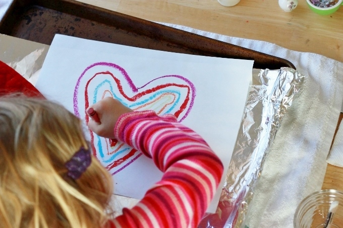 Crayon Melt Valentines Day Art for Kids - Drawing with the melting crayons