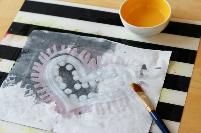 Crayon Melt Valentines Day Art for Kids - Adding a layer of oil
