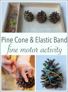 Pine cone and elastic band fine motor activity