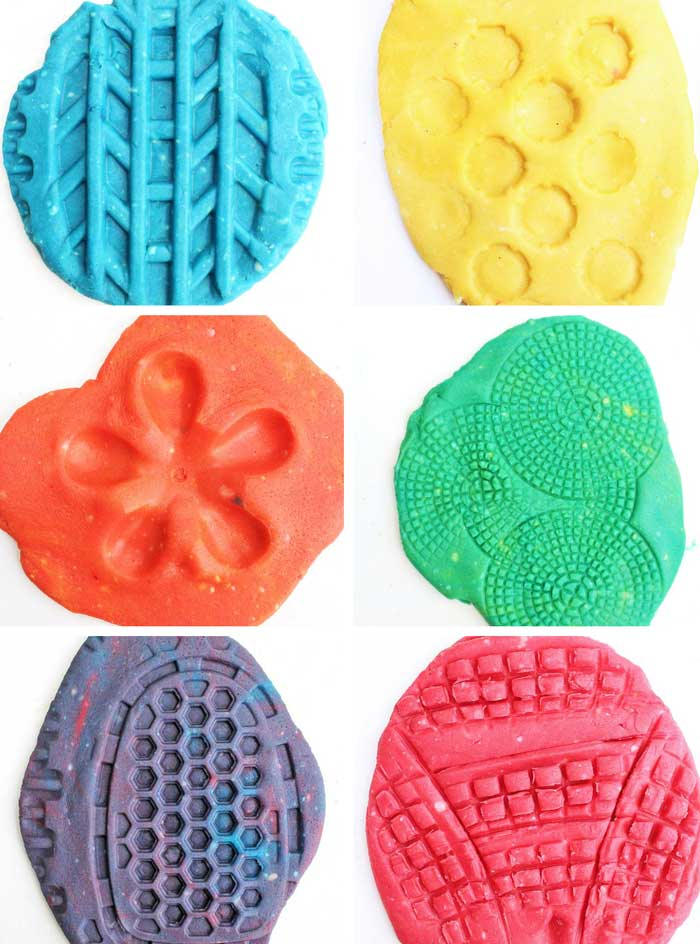 Here's a novel idea for play dough activities: use recycles as play dough toys. Recycled plastics have some amazing textures for kids to explore.