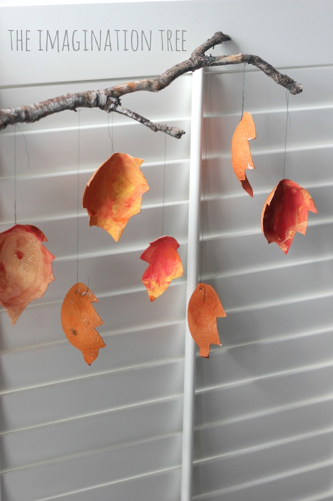 Recycled Autumn Leaf Mobile