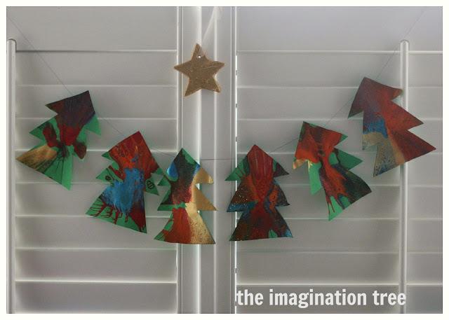 Spin Art Christmas Trees