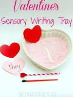 Valentine's sensory writing tray literacy activity