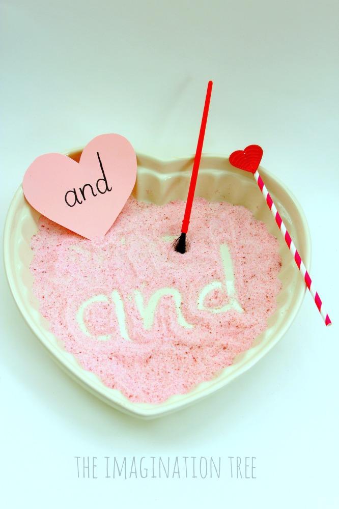 Valentine's sensory writing tray