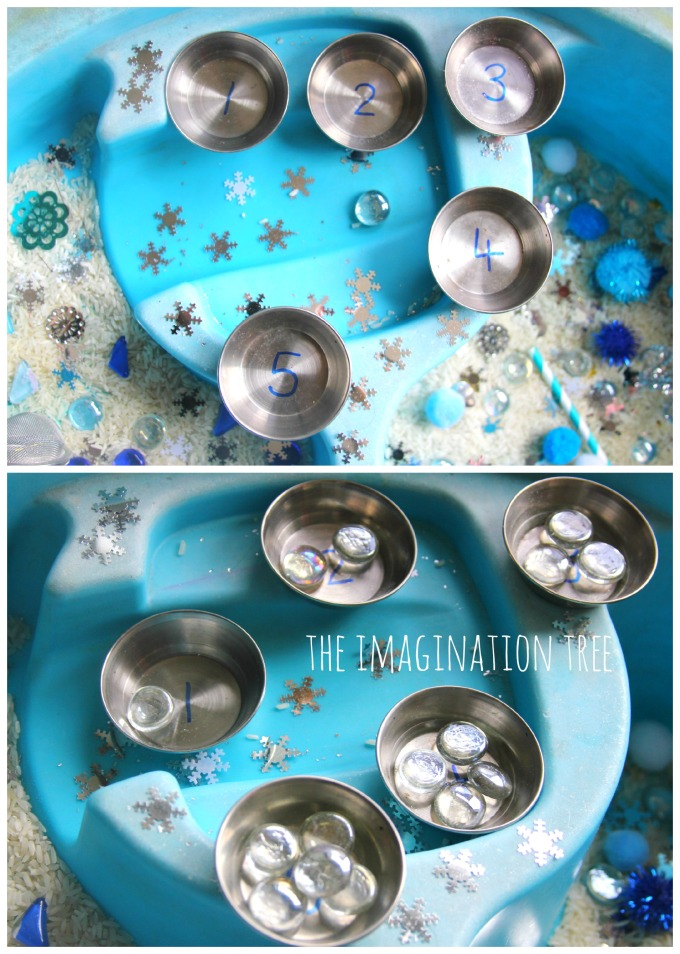 Winter sensory counting bin
