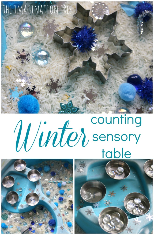 Winter themed counting sensory table