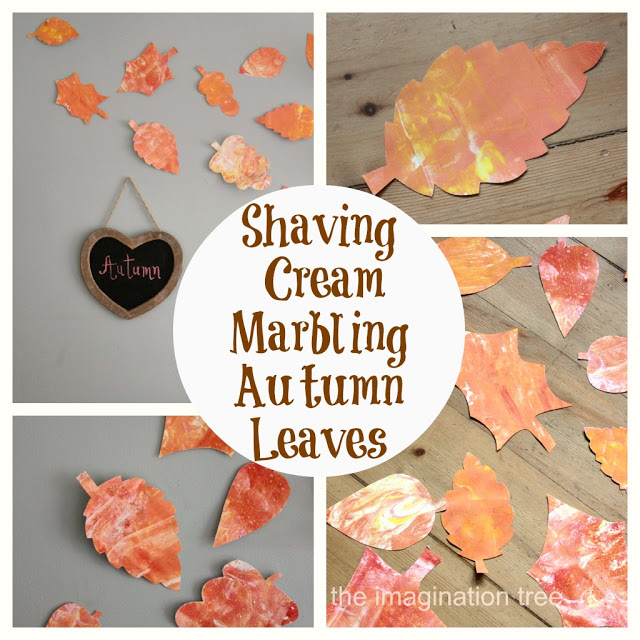 Shaving Cream Marbling Autumn Leaves