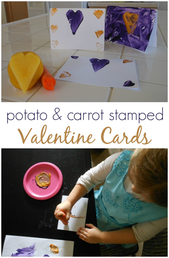 potato and carrot stamped valentine cards