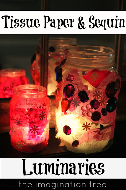 Jam Jar and Tissue Paper Luminaries