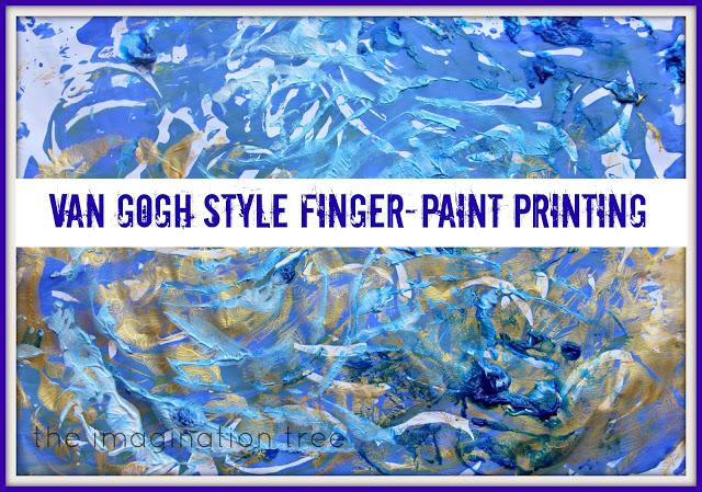 Van Gogh Style Finger-Paint Printing