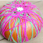 Yarn and Ribbon Wrapped Pumpkins!