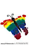 Rainbow butterfly footprint keepsake craft