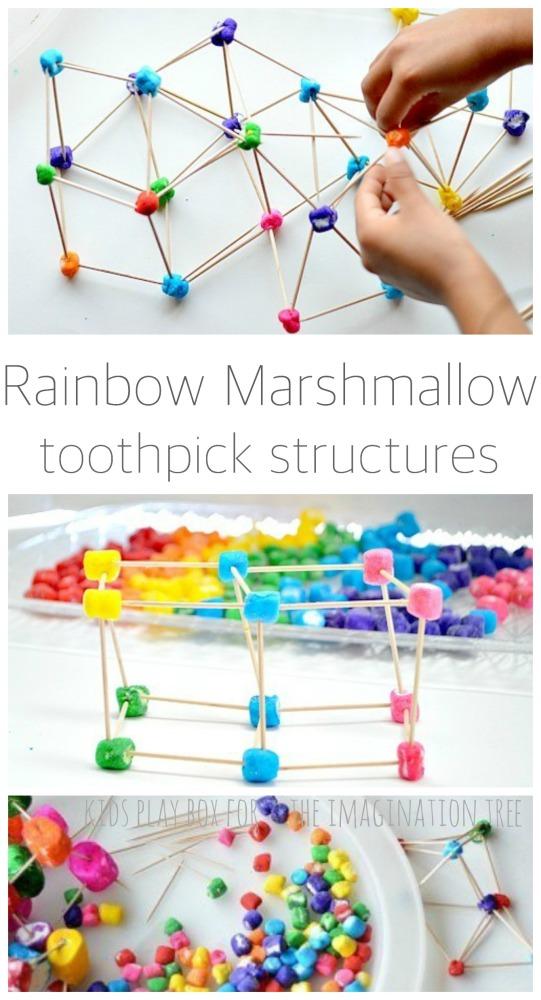 Rainbow marshmallow toothpick structures