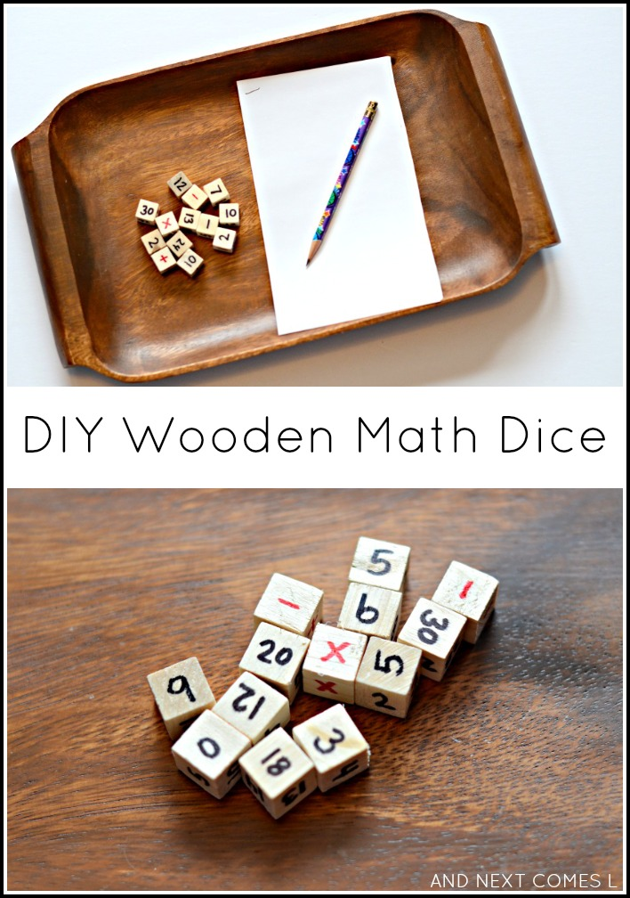 DIY wooden math dice for elementary math learning from And Next Comes L