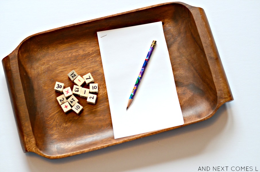 Simple math tray for kids using DIY wooden math dice from And Next Comes L