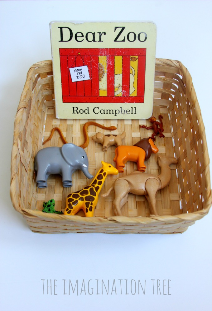 Dear Zoo storytelling basket for preschoolers
