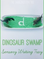 Dinosaur swamp sensory writing activity for kids