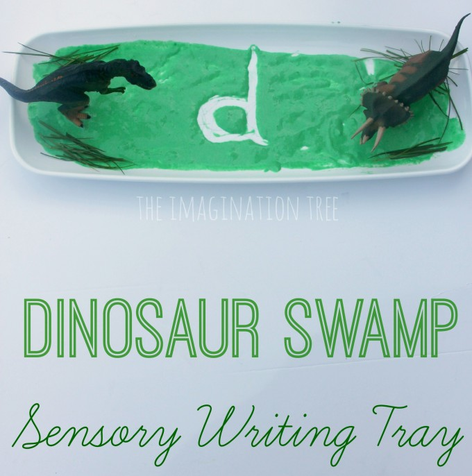 Dinosaur swamp sensory writing activity for kids fb
