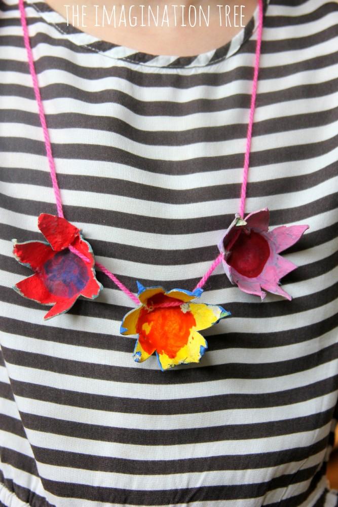 Egg carton flower necklace