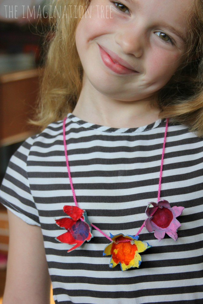 Egg carton flower necklace craft for kids