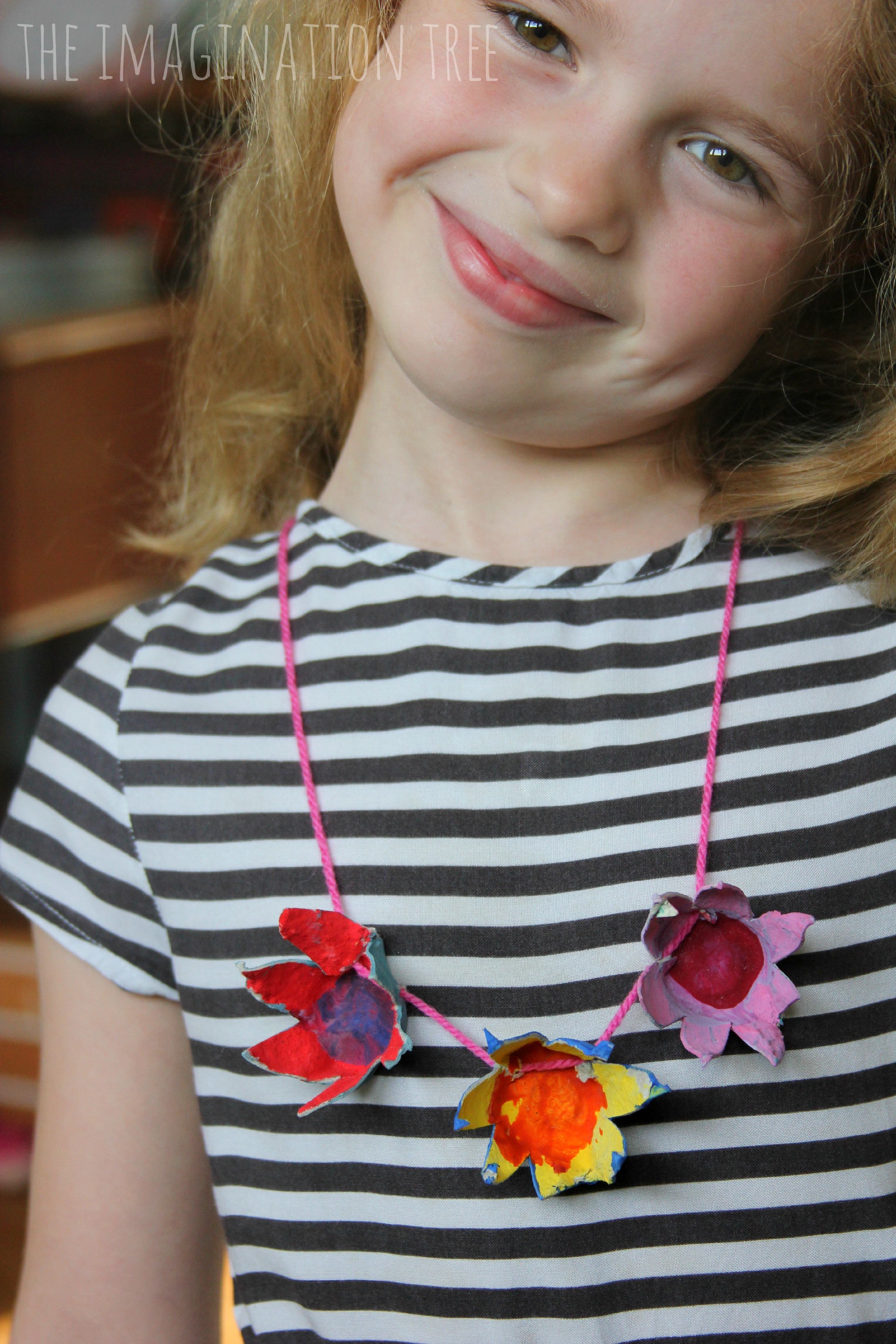 Egg Carton Flowers Necklace The Imagination Tree