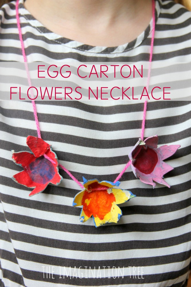 Egg carton flowers necklace the imagination tree Egg carton flowers ideas