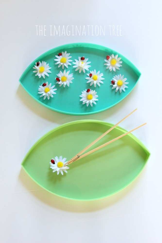 Flower transfer fine motor game