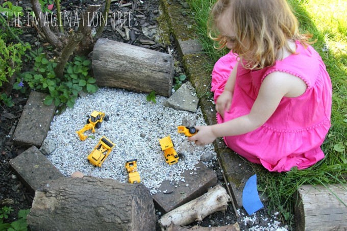 Outdoor gravel pit for small world play
