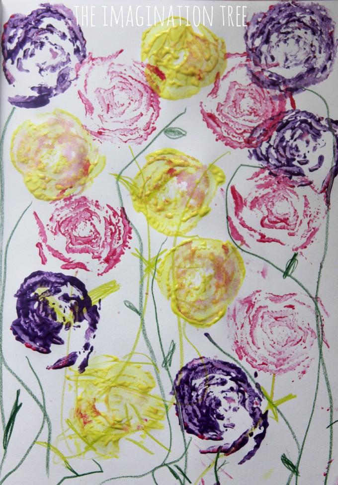 Printed flower art using celery