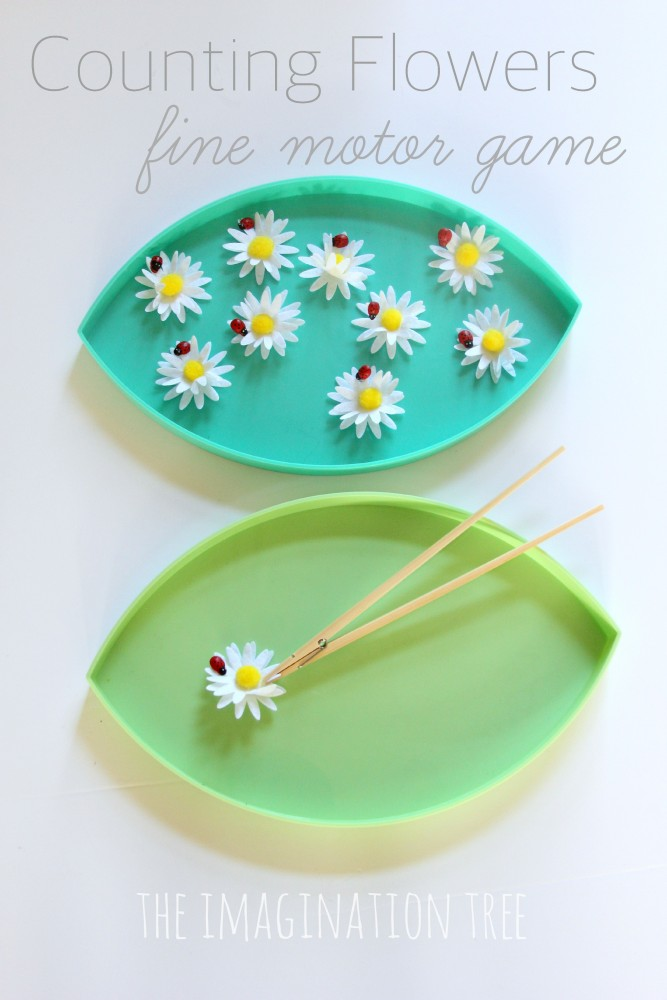 counting flowers fine motor game