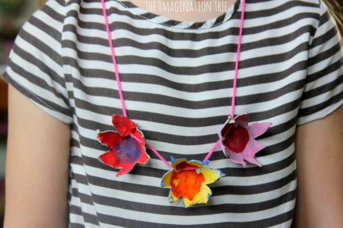 egg carton necklaces