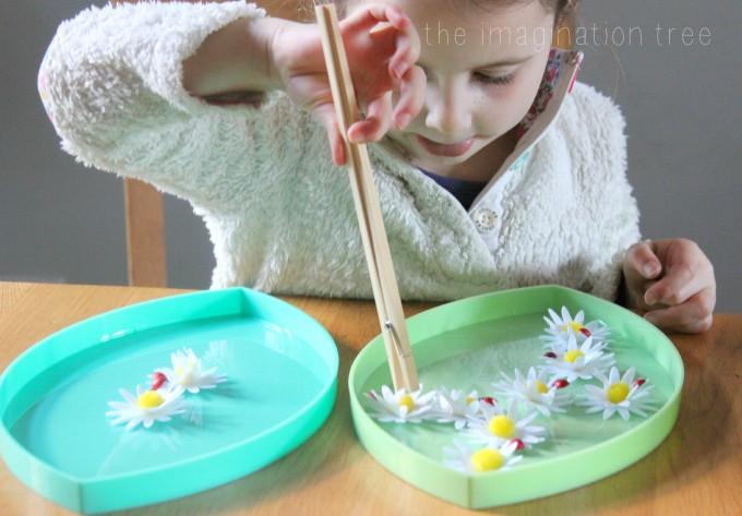 transferring flowers montessori game